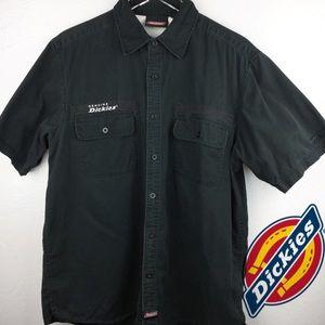 XL Dickies Shirt | Black Button Down Short Sleeve